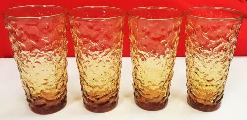 "4 Vintage Anchor Hocking Lido Milano 16 oz. Amber Drinking Glass Tumblers 6 3/4"""
