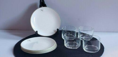 Quantas Airways Bone China Plates & Rocks Glasses by Wedgwood & Narumi Lot of 8