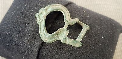 Superb Medieval copper alloy buckle, slightly bent L66j