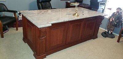 Solid Cherry Wood Office Desk, Solid Cherry wood doors, mouldings, corbels