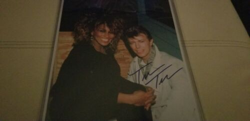 Superb TINA TURNER &  DAVID BOWIE photo! Rare Tina autograph only! w/coa