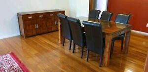 Dining room suite. Table, chairs, and cabinet
