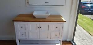 Bathroom Solid Wood Vanity White 900mm