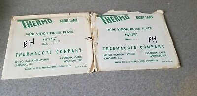 2 Vintage Thermo Welding Lens Filter Plates 4 12 X 5-14 Green Label Shade 14