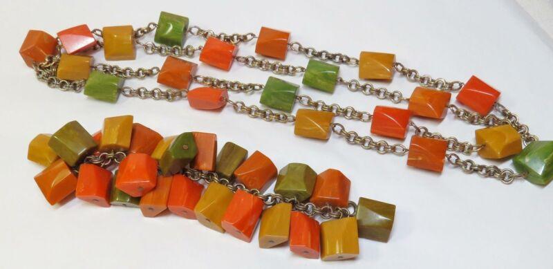 """Vintage Marbled Multi Color BAKELITE 50"""" Necklace & Cha Cha Dangle Bracelet"""