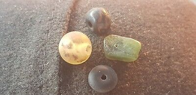 Exquisite Ancient Viking Amber,Jade,glass,domestic animal bone bead mix x4 L40e