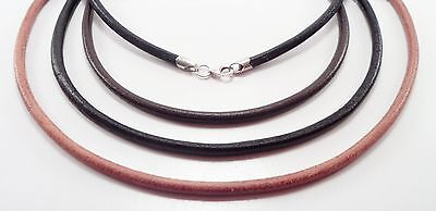 4mm smooth leather sterling silver necklace black brown natural u pick length Black Leather Sterling Silver Necklace