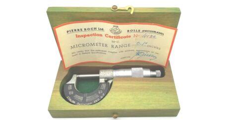 "ETALON 23C Micrometer with Original Certificate and Box 0 - 1"""