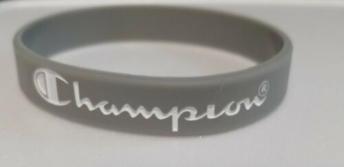 """GRAY with White Print CHAMPION Silicone Bracelets 5/16"""" Wide - US Seller!!!"""