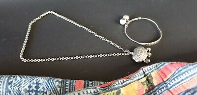 Old Chinese Babies Good Luck Silver Necklace & Bracelet Set …beautiful gift & co