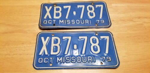 Vintage License Plate Set Missouri October 1979 XB7-787