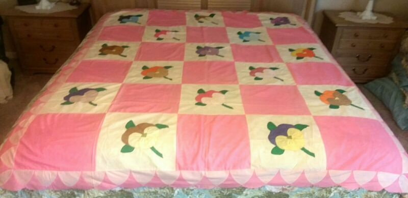 VINTAGE QUILT TOP Pink ROSE of SHARON APPLIQUED 72x84 Full Size Quality Made