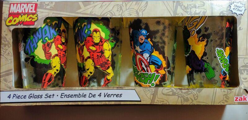 NIB Marvel Comics Zak! Set of 4 16oz Avengers Glasses