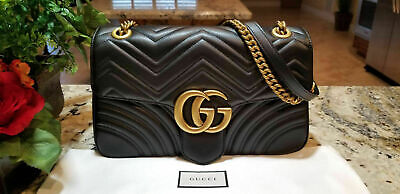 Authentic Gucci GG Marmont Medium Black Matelass¨ Leather Shoulder Bag