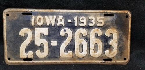 Vintage 1935 IOWA  LICENSE PLATE # 25-2663 DALLAS COUNTY (IA)