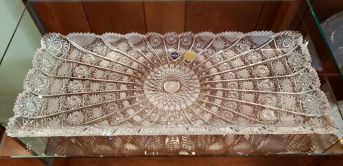 """Bohemia Queen Lace 15 5/8"""" Vintage 24% Lead Crystal Plate Tray NIB-HARD TO FIND"""