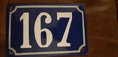 """Vintage French Blue & White Enamel House Number 167 Sign 6"""" x 4"""" Good condition"""