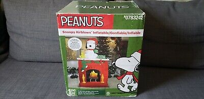 NEW 7 FT TALL CHRISTMAS PEANUTS SNOOPY WOODSTOCK FIREPLACE SCENE INFLATABLE