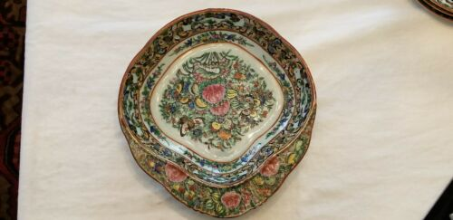 19th C Chinese Famille Rose Medallion Porcelain Vegetable Dish with Rim Edge