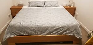 Wooden Frame King Size Bed with Mattress
