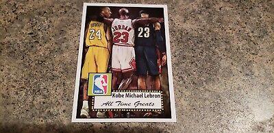KOBE BRYANT-MICHAEL JORDAN-LEBRON JAMES 1952 STYLE  ACEO ART BASKETBALL CARD (Lebron James Style)