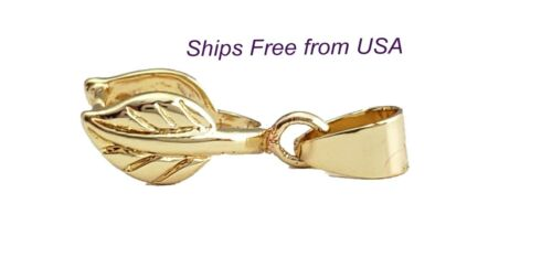 Light Gold-Medium Leaf Pinch Bails (Pkg of 5/10) Ships Free from WI, USA (83-LG)