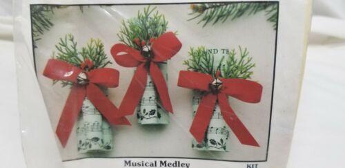 Vintage Merri Mac Christmas Ornament Kit MUSICAL MEDLEY Notes Sheet Music Bell