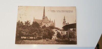 CPA BK PK AK 1925 Furnes Le parc et l'Eglise Sainte-Walburge Veurne St-Walburgis