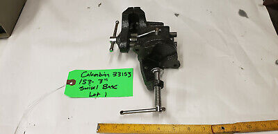 3 Columbian 33153 153 Clamp-on Swivel Base Bench Vise Cast Iron.  Used Lot1