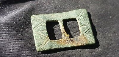 Stunning Tudor Bronze buckle uncleaned condition found in England L117p