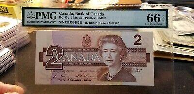 BC-55c $2 1986 Bank of Canada Bank Note Bonin/Thiessen PMG 66 EPQ