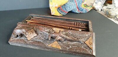Old Chinese Carved Chop Stick Set in Carved Box …beautiful collection & accent p