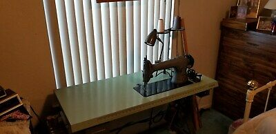 Commercial Industrial Singer Sewing Machine Table Top W Motor Light Etc...