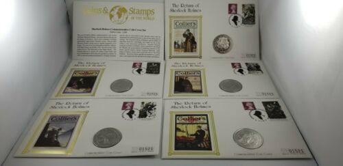 The Return of Sherlock Holmes Gibraltar Coin & Stamp Cover Complete Set ltd 2000