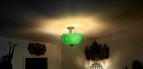 1920s Antique Green Slag Glass Ceiling Lamp Antique Tiffany Ceiling Lamp