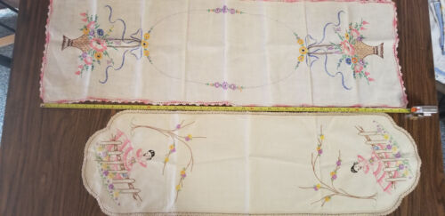 Vintage 2 Table runners  crocheted  Embroidery