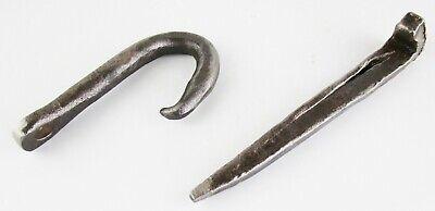 Old Blacksmith Hand Forged Iron Hook w/Eye & Spike Peg Antique Farm Rustic Lot