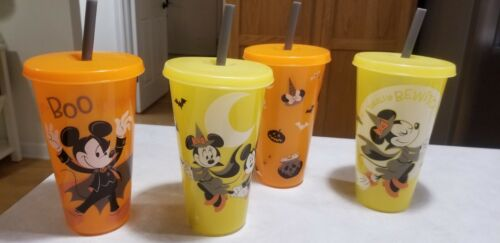 Disney mickey minnie halloween glow in the dark tumbler cup glass set