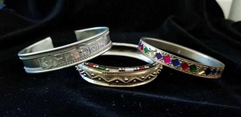 3 Tribal/Ethnic Bracelets. 2 Gold-toned Afghan Kuchi, 1 Hindi Silver-toned.