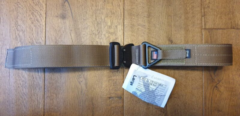 "Yates 1.75 Inch Cobra CQB Belt, Terra, Large (33""-37"") Custom (Black Buckle)"