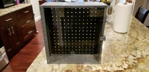 """Display Case powdercoated, acrylic locking door,pegboard rear todisplay,14x15x5"""""""