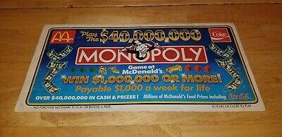 Vintage McDonald's Monopoly Contest Game Board & Prizes Ad Brochure -