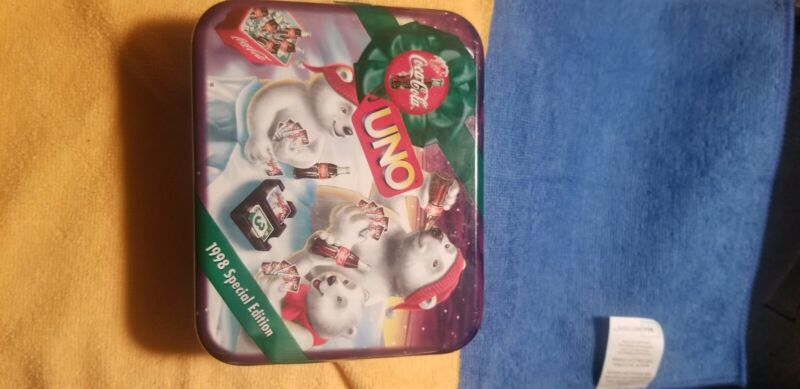 SEALED New Coca Cola Polar Bears UNO Card Game New 1998 Special Edition Tin.