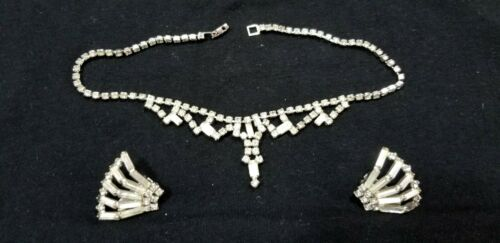 EUC Rhinestone Necklace & Clip Earrings SILVERTONE ART DECO BAGUETTE CRYSTALS A3