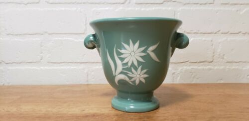 VINTAGE ABINGDON USA MINT GREEN VASE WITH WHITE FLOWER