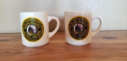 Set of 2 White Mugs: North Dakota Highway Patrol Mugs w Full Color Logo