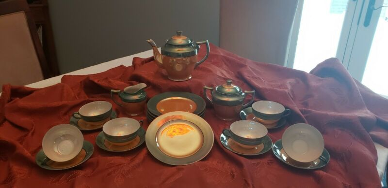 1930's Lusterware  Iridescent Japan Complete Tea Set with Lunch Plates 23 pieces