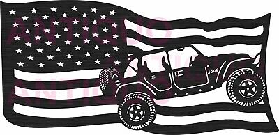 Usa Flag Jeep Car - Dxf Cdr Files For Cnc Plasma Router Or Laser Cut Dxf File
