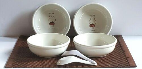 Miffy Vintage Porcelain Porridge Bowls Dutch Artist Dick Bruna for Asahi Bank