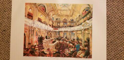 NEW JERSEY STATE HOUSE * SENATE CHAMBER * LEGISLATIVE SESSION *RARE HISTORIC ART